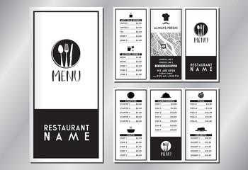 Vintage/ retro restaurant menu template - (starters, soups, main courses, pizza, desserts, drinks) - trifold brochure - 3 x DL (99x210 mm)