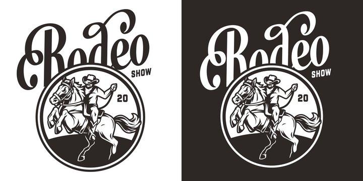 Vintage rodeo show round label
