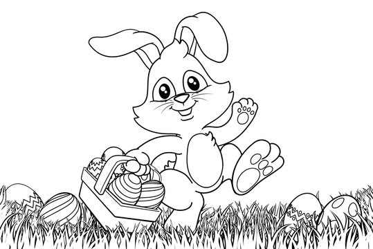 Easter bunny rabbit cartoon character holding a basket full of painted Easter eggs in a field of grass. In black and white outline.