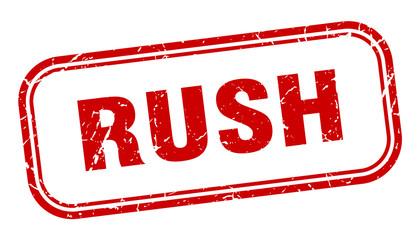 rush stamp. rush square grunge red sign