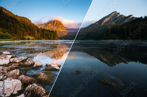 Wall mural Amazing view of lake Obersee at twilight. Images before and after.