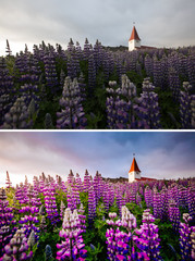 Wall Mural - Amazing view of Vikurkirkja christian church, Iceland. Images before and after.