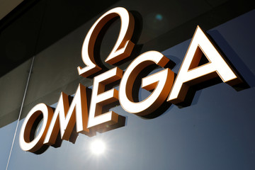 Logo of Swiss watch manufacturer Omega is seen at a shop on Buergenstock