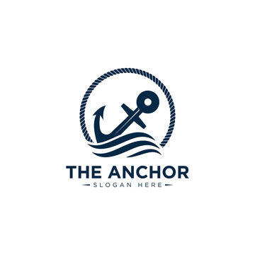 marine retro emblems logo with anchor and rope, anchor logo - vector