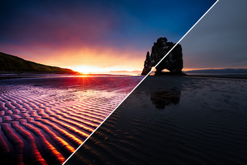 Awesome dark sand after the tide. Location Hvitserkur, Iceland, Europe. Images before and after.