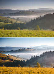 Wall Mural - Misty alpine highlands in sunny day. Images before and after.