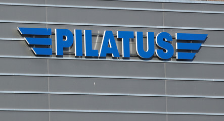 Logo is seen at the plant of Swiss Pilatus Aircraft Ltd. in Stans