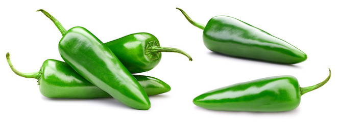 Green chili peppers. Isolated on white background. Pepper Clipping Path