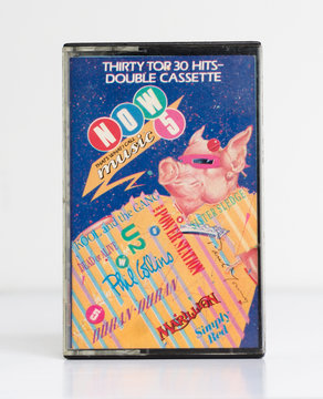 london, england, 05/05/2018 an Old retro audio tape now thats what i call music 5 double cassette album, virgin records .nostalgic 1980s music audio cassette. obsolete media format.