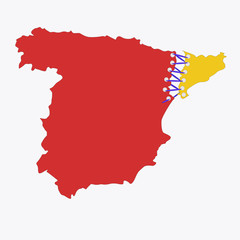 The contour of red Spain from which the province of Catalonia separates, vector