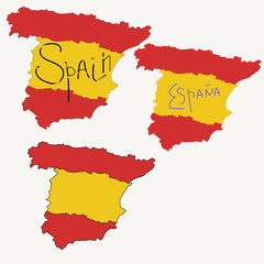 "Set of three vector contour images of Spain with the inscription ""Spain"" in English and Spanish"