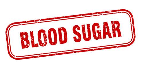 blood sugar stamp. blood sugar square grunge red sign