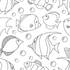Seamless pattern with black and white tropical fish. Exotic fish. Coloring book page for adult and cids. Monochrome hand drawn line work vector illustration. Suitable for wrapping paper and clothing