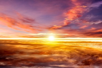 Beautiful sunrise .   Beautiful heavenly landscape with the sun in the clouds  .