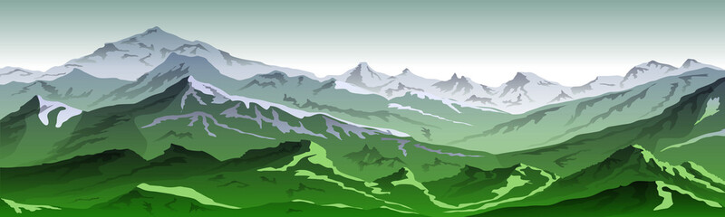 Poster Vert mountains eps 10 illustration background View of green - vector