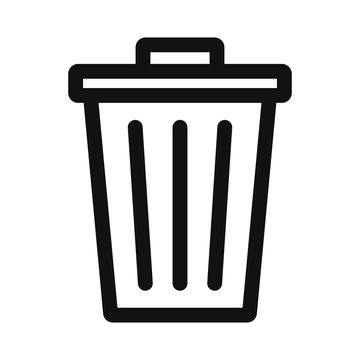 Carbage can icon. Simple shape delete symbol. Trash container logo. Vector illustration image. Isolated on white background.