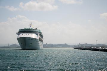 A cruise ship in the harbor in San Juan, Puerto Rico