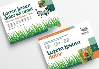 Gardening Service Flyer Layout with Grass Illustrations