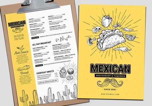 Mexican Restaurant Menu Layout