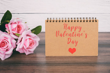 Happy Valentine's Day note with pink roses