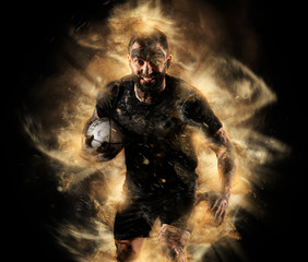 Handsome rugby player in action