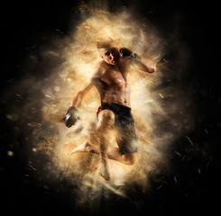 Fight night poster. MMA male fighter kick