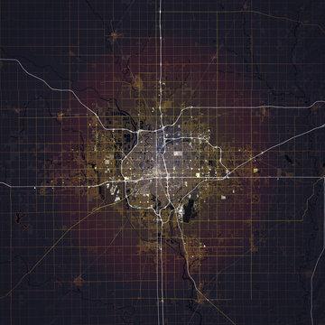 Map Wichita city. Kansas