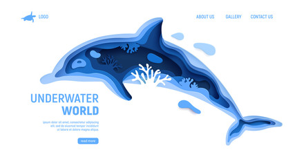 Underwater world page template with dolphin silhouette. Paper art sea background with dolphin, waves and coral reefs. Paper cut vector illustration