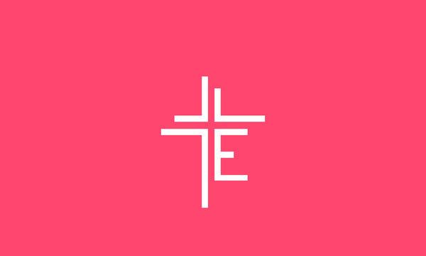 Alphabet letters monogram icon logo  E with a cross , church