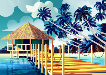 Polynesia Tropical Beach Landscape with traditional house and palm trees.