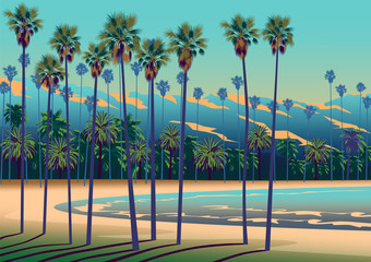 Poster Turkoois A Tropical beach in California with palm trees, ocean, and mountains in the background.