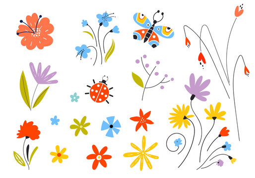 Set of vector multicolored spring flowers. Decorative easter elements in a flat style. Leaves of branches and plants. Floral elements.