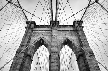 Brooklyn Bridge New York City close up architectural detail in timeless black and white_ifksp