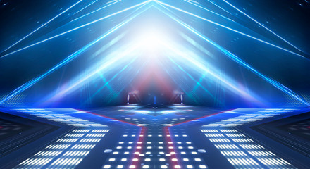 Fotobehang F1 Dark abstract futuristic neon blue background. Neon lines glow. Neon lines, shapes. Multi-colored glow, blurry lights. Empty stage background.