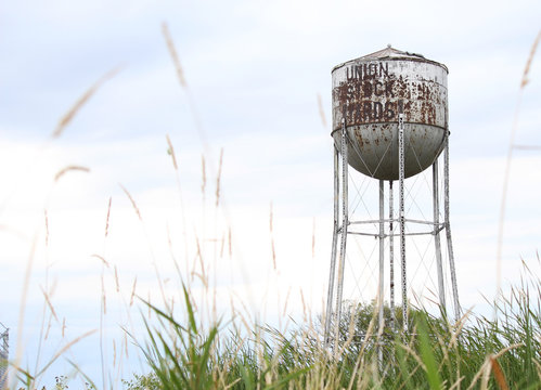 Water tower in the field