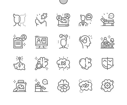 Psychologist Well-crafted Pixel Perfect Vector Thin Line Icons 30 2x Grid for Web Graphics and Apps. Simple Minimal Pictogram