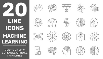 Line icons set of AI machine learning and data science technology. Modern linear pictogram concept. Premium quality outline symbols collection. Editable Stroke. EPS 10