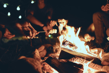 Romantic night. Young people roasting marshmallows over a campfire while enjoying their road travel