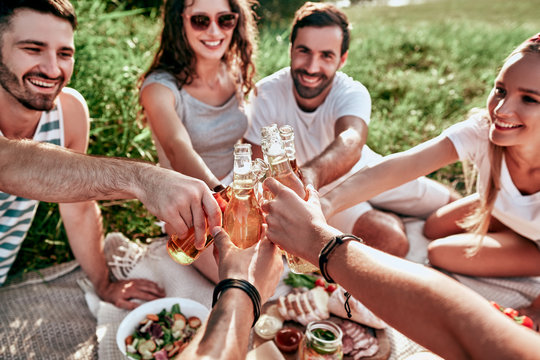 Happy adult friends cheering with beers at a picnic outdoor