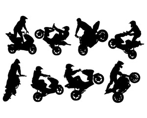Fototapete - Athlete performs a stunt on a sports motorcycle. Isolated silhouettes on a white background