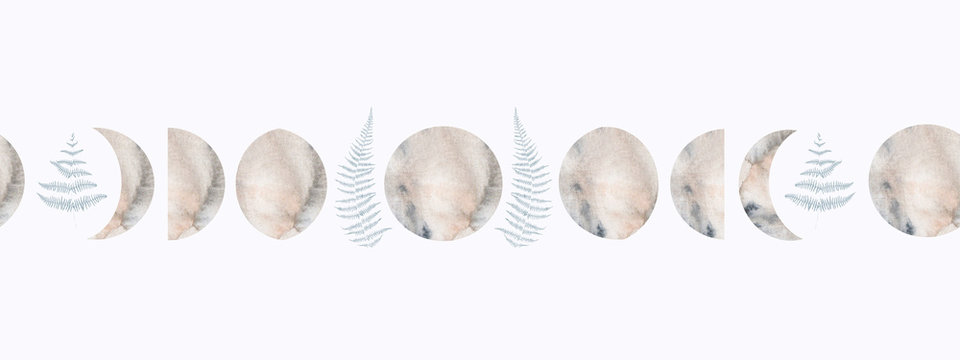 Watercolor seamless border pattern with moon phases and fern leaves isolated on white background. For design and other decor.
