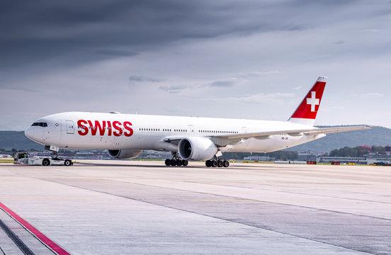 Swiss International Airlines Boeing 777 airplane at Zurich