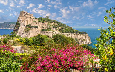 Wall Mural - Landscape with Aragonese Castle, Ischia island, Italy