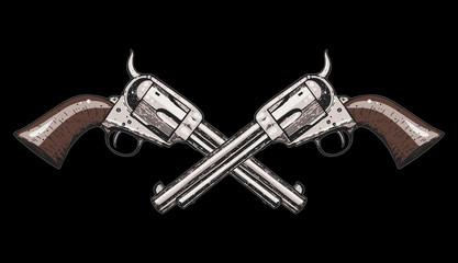 Hand drawn revolvers vector illustration. Crossbones guns. Vintage illustration.