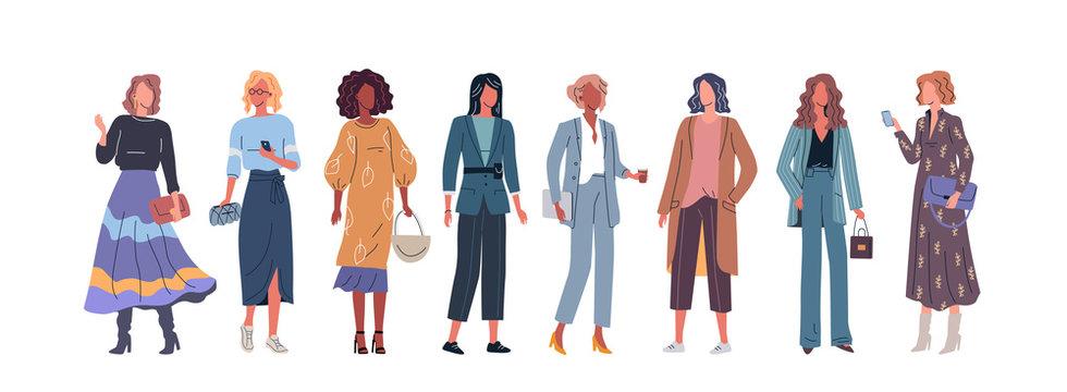 Young women modern cartoon vector set