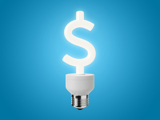 Energy Saving Light Bulb shaped as a Dollar Sign