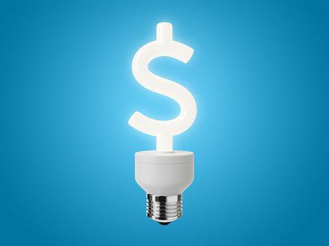 Energy Saving Light Bulb shaped as a Dollar Sign