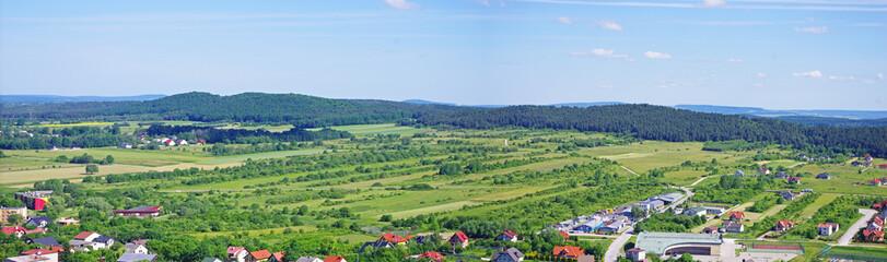 Poster Pistache Panorama z wieży zamku w Chęcinach na pola drogi i Kielce