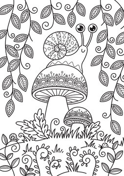 Doodle coloring book page snail on mushroom. Antistress for adult.