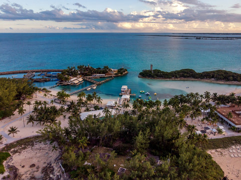 Blue Lagoon Island in Nassau, Bahamas. View from the top. Aerial view on a small Caribbean island.